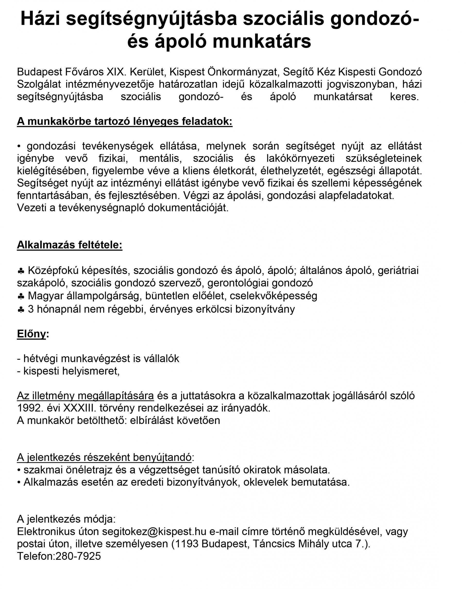 önéletrajz házi feladat Segítő Kéz Kispesti Gondozó Szolgálat önéletrajz házi feladat